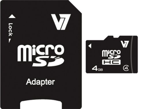 V7 4GB MicroSDHC Class 4 Flash Memory Card with SD Adapter (VAMSDH4GCL4R-1N)