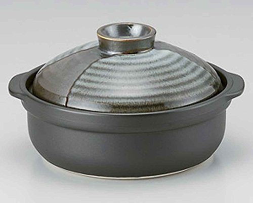Yamagasumi for 6-8 persons 14.1inch Donabe Japanese Hot pot Black Ceramic Made in Japan by Watou.asia