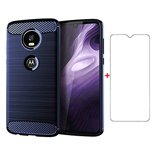 Phone Case for Motorola Moto Z4 Play with Tempered Glass Screen Protector Cover and Silicone Slim Thin Full Body Protective Cell Accessories Motorcycle MotoZ4 MotoZ4Play MotoZ4Force 2019 Cases Blue (Motorola Motor E Cover)