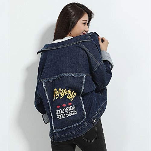 Chaqueta Mezclilla Impresión Oversize Las Abrigo Parche De Jeans Jacket Suelto Moda Darkblue Mujeres R15Hf1qWw