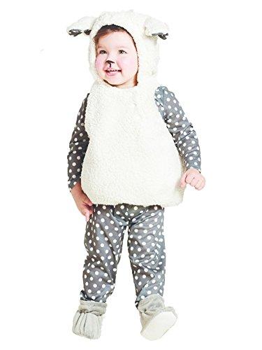 Infant Girls Baby Lamb Costume White Sheep Vest Polka Dot Shirt & Leggings 6-12m ()