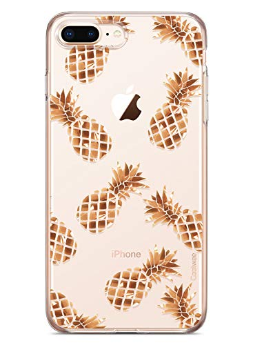 COOLWEE Gold iPhone 7 Plus Case,Clear iPhone 8 Plus Case Rose Gold Thin Floral Foil Shiny Glitter Flower Cool Sparkle TPU Bumper Protective Cover for Apple iPhone 7 Plus 8 Plus 5.5 inch - Pineapple