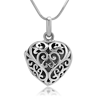 Amazon chuvora 925 sterling silver filigree heart shaped chuvora 925 sterling silver filigree heart shaped designer locket pendant necklace 18 inches aloadofball Gallery