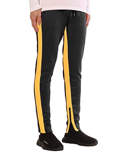 JD Apparel Men's Skinny Fit Retro Scuba Track Joggers L Black/Yellow (Yellow Jogger)