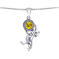 Star K Cat Lover Pendant Necklace with November Birth Month Simulated Citrine