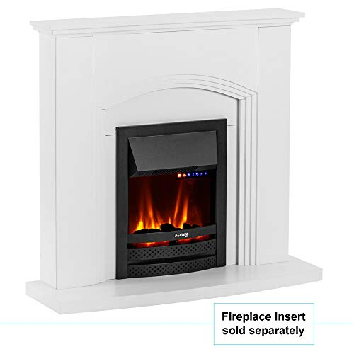 e-Flame USA Abbotsford Electric Fireplace Stove Mantel Surround - 45-inch - Elegant White Gloss Finish