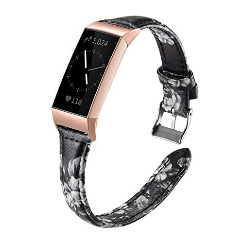 (Shangpule Bands Compatible Fitbit Charge 3 for Women, Slim Premium Leather Band Flower Design Replacement Strap Accessories for Charge3 Large Small (White Flower with Rose Gold connectors))