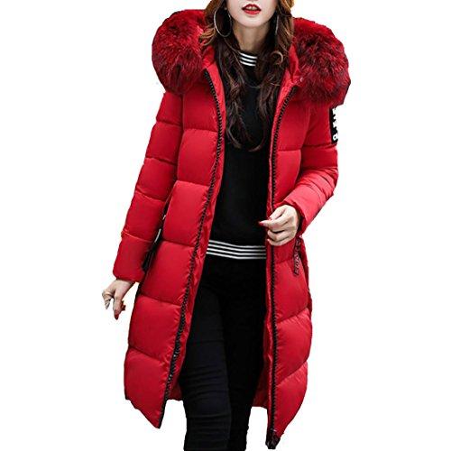 Warm Elegant Sleeve Parka Princer Thicker Pockets Down Jacket Red Hooded Women Long Outwear Windbreaker CwxPgn6vq