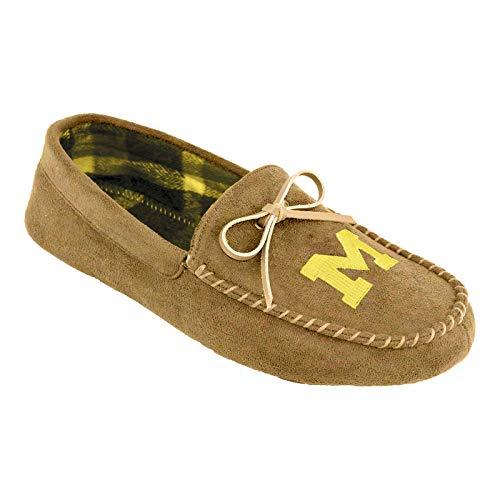 Campus Footnotes Mens Flannel Big Logo Moccasin Slippers Shoe - Pick Team (Medium 9-10, Michigan ()