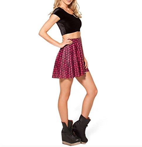 Printed Skirt Red YW Fashion Pleated Summer Trendy M Dress Trendy CLkt1001 pqw4PfHnP