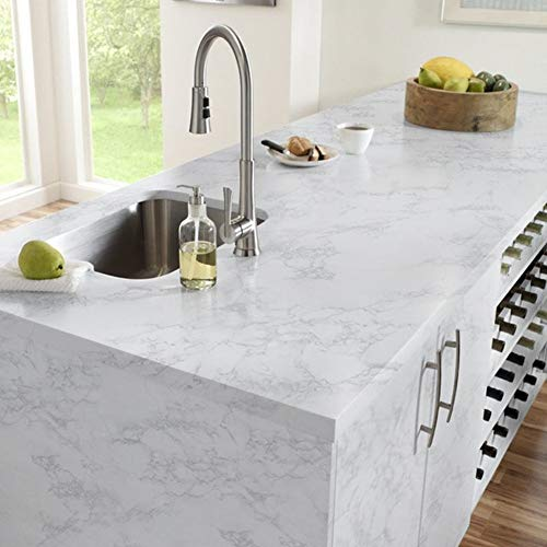 Yancorp Marble Contact Paper Gloss Vinyl Film Self-Adhesive Marble Sticker Kitchen Countertop Cabinet Furniture Shelf Liner 10ft (16