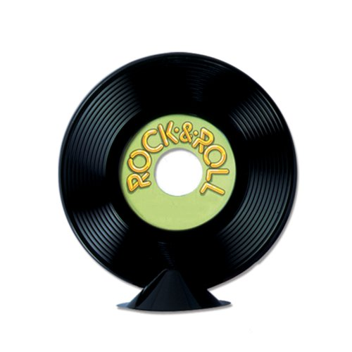 Beistle 57356 12-Pack Personalize Plastic Record Centerpieces, 9-Inch]()