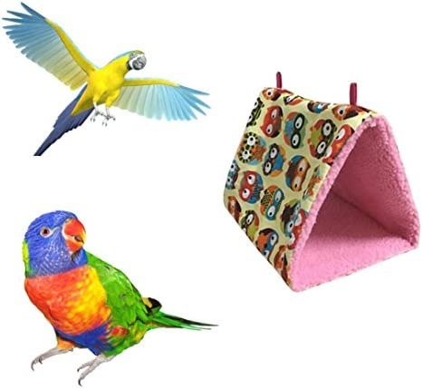 Aurorax Pet Bed Bird Parrot Plush Hammock Cage Hut Tent Bed Bunk Toy Hanging Cave