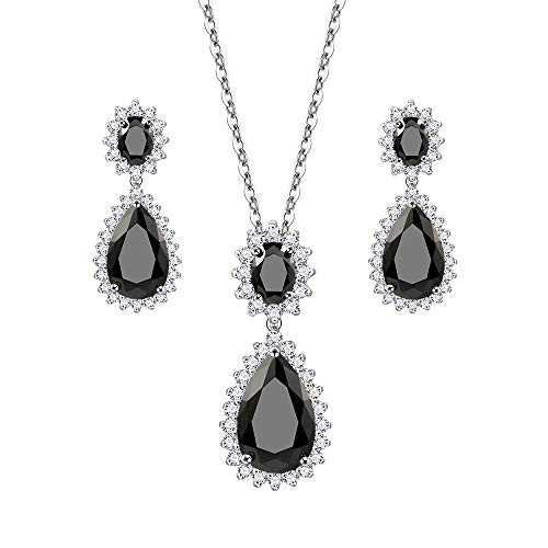 Lavencious Teardrop Dangle Necklace & Earring Sets for Women Trendy AAA Cubic Zirconia for Women (Black)
