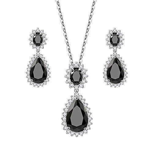 Lavencious Teardrop Dangle Necklace & Earring Sets for Women Trendy AAA Cubic Zirconia for Women (Black) ()