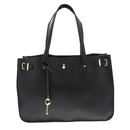 London Fog Womens Harlow Signature Textured Tote Handbag Black Medium