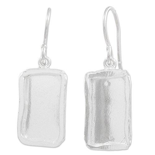 NOVICA .925 Sterling Silver Dangle Earrings 'Shimmering Mirrors' Sterling Silver Rectangular Mirror