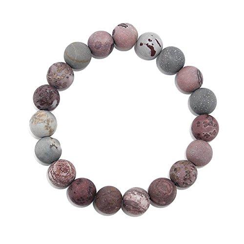 POMINA 10mm Semi Precious Stone Beaded Stretch Bracelets (Fancy Jasper) ()