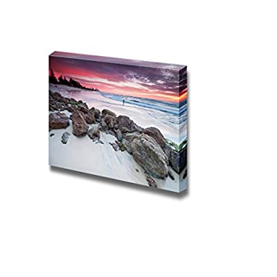 Canvas Prints Wall Art - Beautiful Seascape at Dawn with Big Rocks on The Beach | Modern Wall Decor/Home Decoration Stretched Gallery Canvas Wrap Giclee Print & Ready to Hang - 32