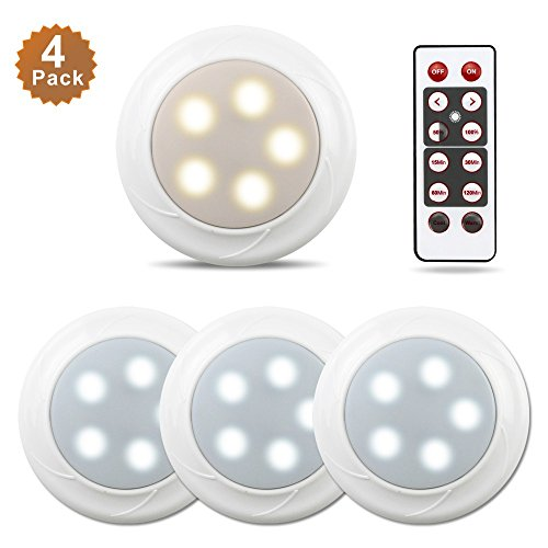 Focondot 4Pack Puck Lights, Wireless Battery Powered Lights,Kitchen Under Cabinet Lighting with Remote Control for Counter of Closets,Bedroom,Living room,Stairs,Hallway,Nursery