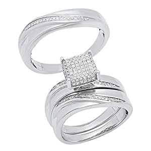 0.35 Carat (ctw) Sterling Silver Round Diamond Men's & Women's Micro Pave Ring Trio Set 1/3 CT