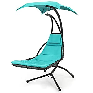 Best Choice Products Stand Air Porch Swing Hammock Chair with Canopy, Teal