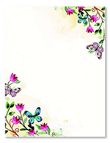 100 Stationery Writing Paper, with Cute Floral Designs Perfect for Notes or Letter Writing - Tulips
