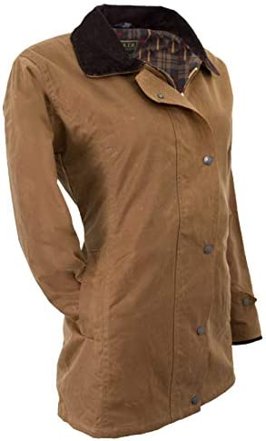 Walker & Hawkes, giacca da caccia da donna, in tela cerata, colore beige