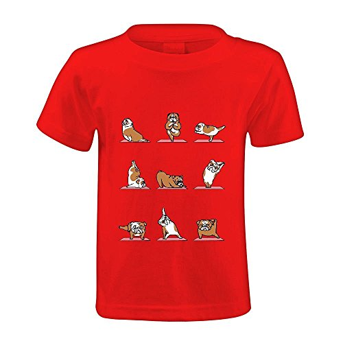 Snowl English Bulldog Yoga Youth Crew Neck Graphic T Shirt Red (Life Is Good Yoga Womens Tshirts compare prices)