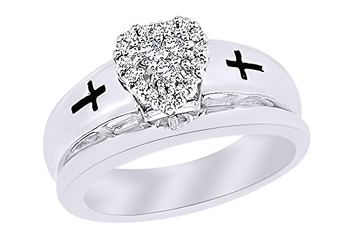 Round Cut White Natural Diamond Heart Cross Bridal Set Ring in 14k White Gold Over Sterling Silver (0.2 Cttw)
