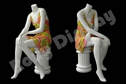 MD-A7BW2-S ROXYDISPLAY/™ Headless Female Mannequin Matte White Fiber Glass Sitting pose