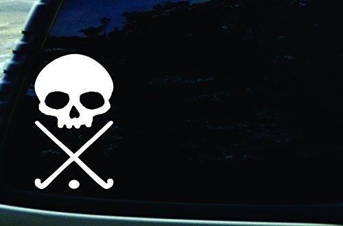4' X 6.5' Field Hockey Skull Vinyl Die Cut Decal for Your Car, Truck, Laptop, Window