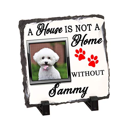 Personalize Memorial Stone, Grave Marker, Headstone and Photo Stone Slate Plaque for Your Pet, Dog, Cat, Home is not Home (Stone Slate Plaque 5.5
