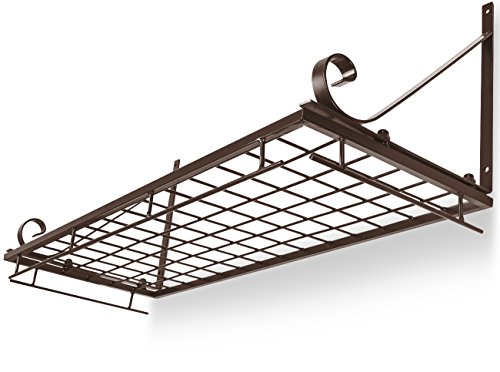 Sorbus Pots and Pan Rack — Decorative Wall Mounted Storage Hanging Rack — Multipurpose Wrought-Iron shelf Organizer for Kitchen Cookware, Utensils, Pans, Books, Bathroom (Wall Rack - Bronze) by Sorbus (Image #5)