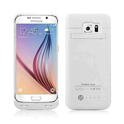 4200mAh Portable USB External Rechargeable Backup Battery Power Bank Charger Case with Viewing Stand for Samsung Galaxy S6 - White