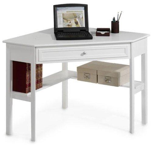 Amazoncom Oxford 50 Inch White One Drawer Corner Writing Desk