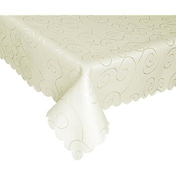 Charmant EcoSol Designs Microfiber Damask Tablecloth, Wrinkle Free U0026 Stain Resistant  (60x84, Ivory) Swirls