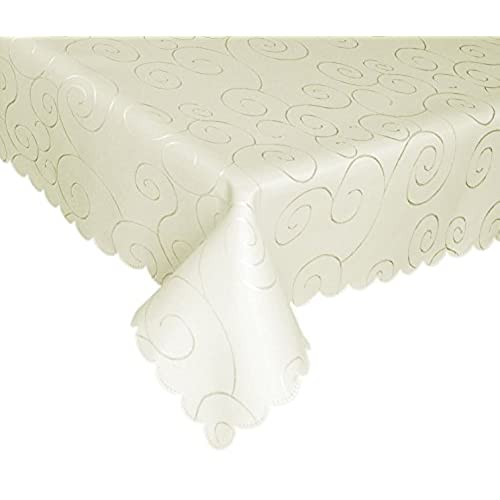 Delicieux EcoSol Designs Microfiber Damask Tablecloth, Wrinkle Free U0026 Stain Resistant  (60x84, Ivory) Swirls