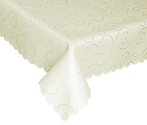 "EcoSol Designs Microfiber Damask Tablecloth, Wrinkle-Free & Stain Resistant (60""x102"" Rectangular/Oblong, Ivory/Cream) Swirls"