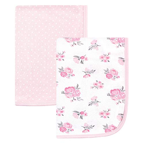 Hudson Baby Interlock Cotton Swaddle Blanket, Pink Floral 2 Pack, One Size