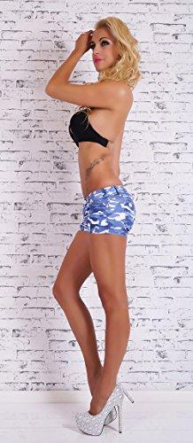 Blanco Mimetici Azzurro Pantaloni Militare Corti Donna Pantaloncini Shorts Stile Store Bianco Camouflage wYvwrx7