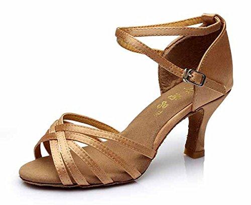 YFF Neue Women's Ballroom Latin Tango Schuhe 5 cm und 7 cm hohem Absatz,Beige,7 cm,6.