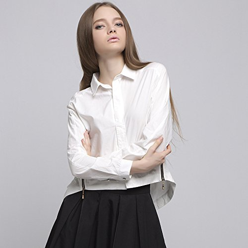 YLSZ-Long sleeved shirts, ladies, cotton, front, short, long, college, wind, thin, women's tops,white,S