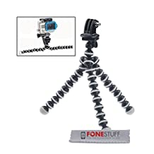 Fone-Stuff GoPro portable flexible mini octopus tripod adjustable adapter mount holder for Hero 4 / 3+ / 3 / 2 / 1 in black