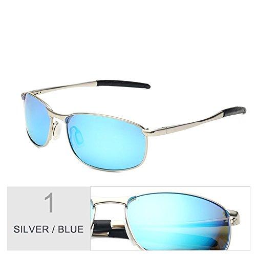de soleil Miroir pour Small Sunglasses de Blue Lentille hommes TL Silver Metal Lunettes UV400 polarisation 4wqInAX