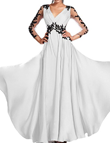 Amore Mariée Dentelle Femmes Manches Longues Appliqued Robe De Demoiselle D'honneur De Mariage Blanc