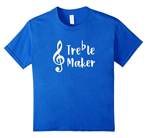 unisex-child Funny Music Musician T-Shirt Gift Trouble Treble Maker 10 Royal Blue