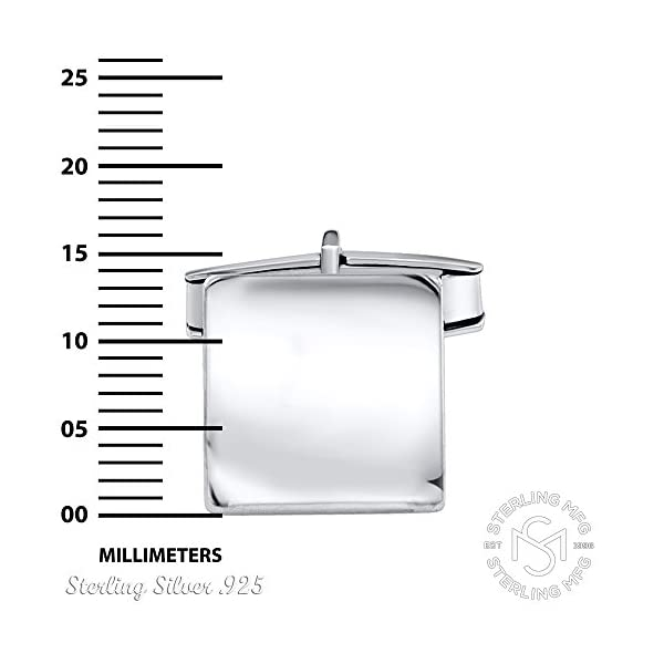 Mens-Sterling-Silver-925-Square-Cufflinks-Italian-Designed-and-Made-High-Polished-by-Hand-Elegant-Design-Secure-Solid-Hinges-Sleek-and-Stunning-Engravable-measuring-14mm