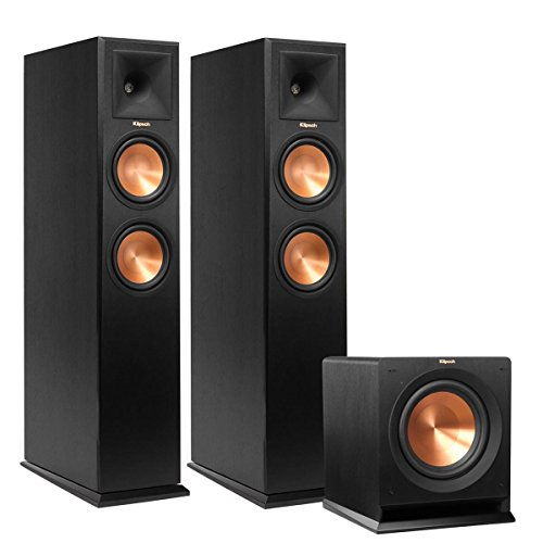 10' 200w Speaker - Klipsch (1 Pair) RP-260F Reference Premiere 260 Floorstanding Speaker with Dual 6.5 inch Cerametallic Cone Woofers - Each (Ebony) R-110SW 10'' 200 Watt Subwoofer (Black) Bundle
