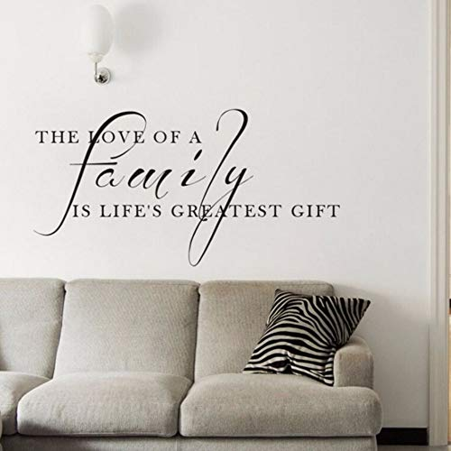 Pbldb 57X29Cm Family Quote Wall Decal The Love of A Family is The Greatest Gift Quote Wall Sticker Home Decor Vinyl Family Wall -